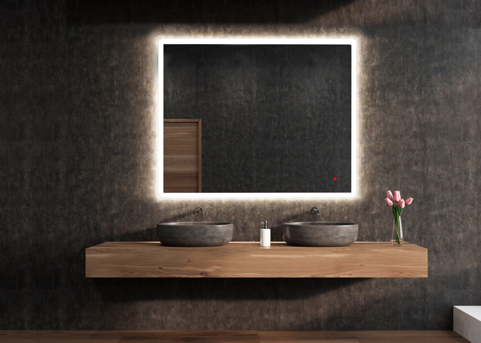 ESPEJO LED con LUZ Large horizontal mirror is hanging on a black bathroom wall. There are two sinks on a wooden shelf below it and a vase of flowers. 3d rendering